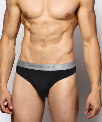 2 Pack Slipy męskie Sport z bawełny Pima w kolorze czarnym Bielizna Atlantic Basic#1