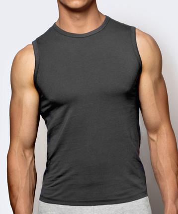 Bawełniana koszulka męska w kolorze grafitowym