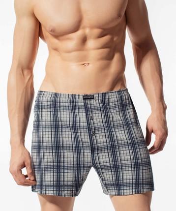 Bokserki męskie Classic z naturalnej bawełny w kolorze szary melanż Bielizna Atlantic Big Check#1