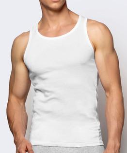 Bawełniany podkoszulek męski na ramiączkach w kolorze białym
