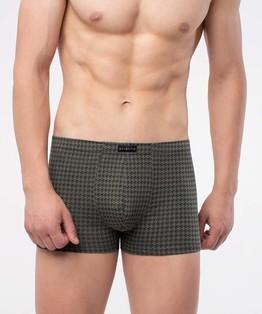 Szorty męskie w geometryczny nadruk z gumą w tunelu w kolorze khaki.