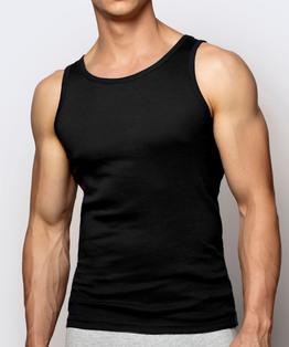 Bawełniany podkoszulek męski na ramiaczkach w kolorze czarnym