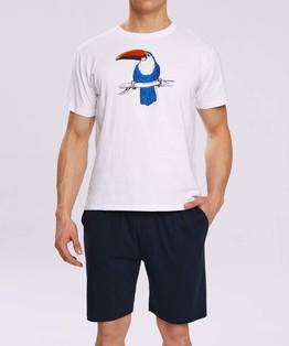 piżama męska komplet z nadrukiem <br> biały, NMP-317 - Atlantic