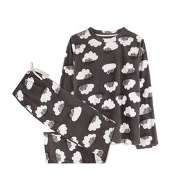 piżama damska komplet, chmury <br> grafitowy, NLP-458 - Atlantic