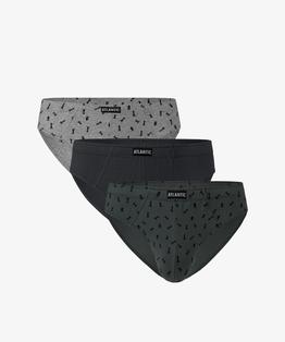 W 3-packu znajdują się slipy męskie w trzech kolorach: szary melanż i jasne khaki - pokryte graficznymi wzorami w szachy, oraz gładkie w kolorze ciemne khaki #1