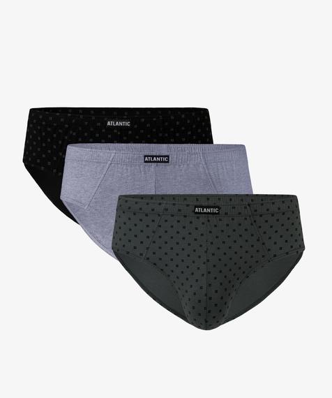 W 3-packu znajdują się slipy męskie w trzech kolorach. Czarne i khaki pokryte są graficznymi, niewielkich rozmiarów wzorkami, natomiast slipy w kolorze szary melanż są gładkie #1