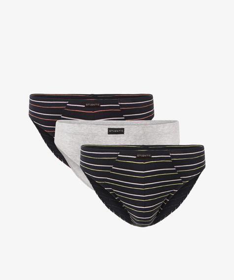 3-Pack Slipy Męskie sportowe bawełniane gładkie i w pasy,  Kolekcja Classic, Bielizna Atlantic