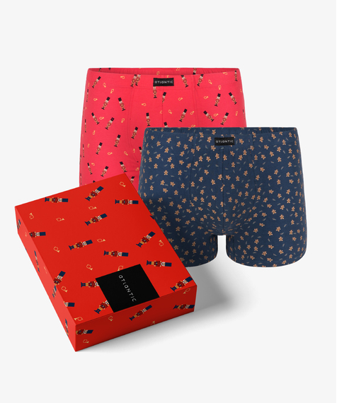 2-Pack Bokserki Męskie obcisłe bawełniane z elastanem we wzory, Kolekcja Happy, Bielizna Męska Atlantic