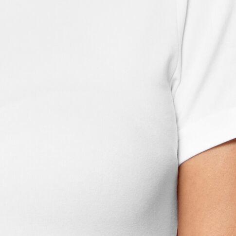 Koszulka damska z krótkim rękawem w kolorze białym wykonana z miękkiej bawełny, okrągły dekolt