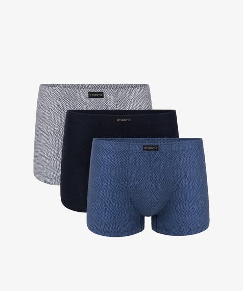 3-Pack Bokserki męskie obcisłe bawełniane z elastanem gładkie i w geometryczne wzory, Kolekcja Classic, Bielizna Atlantic