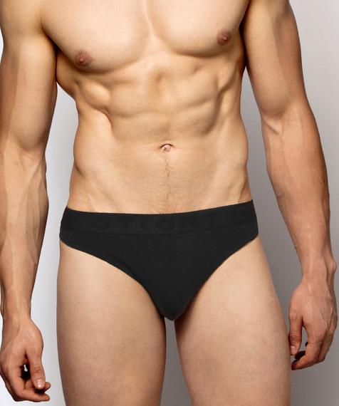 Gładkie slipy męskie typu sport, z gumą zewnętrzną, w kolorze czarnym#1