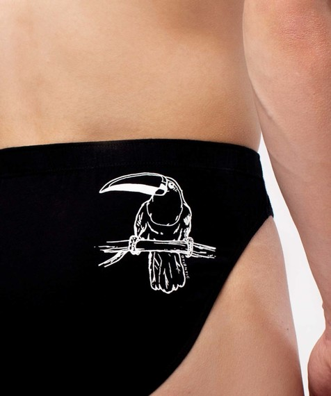 2 Pack Slipy męskie czarne krój SPORT elastyczna bawełna Bielizna męska Atlantic HAPPY.LINE WILD#2