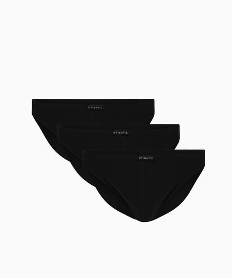Slipy męskie mini w kolorze czarnym są bardzo wysoko podkrojone wokół ud i mają niską talię wykończoną ledwie wyczuwalną gumą tunelową #1