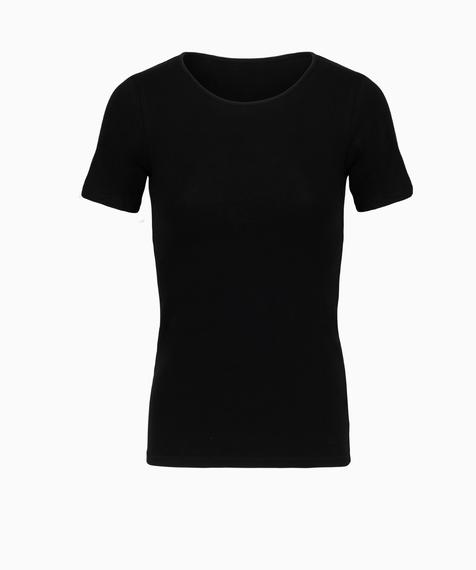 Koszulka damska z krótkim rękawem w kolorze czarnym wykonana z miękkiej bawełny, okrągły dekolt