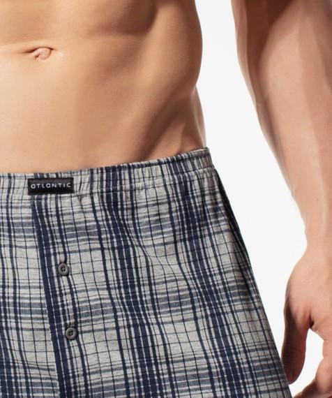 Bokserki męskie Classic z naturalnej bawełny w kolorze szary melanż Bielizna Atlantic Big Check#2
