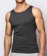 Bawełniany podkoszulek męski na ramiaczkach w kolorze grafitowym.