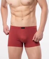 Szorty męskie w kratkę z bawełny z domieszką elastanu w kolorze czerwonym z gumą w tunelu